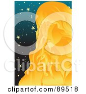 Royalty Free RF Clipart Illustration Of A Golden Virgo Virgin In A Starry Sky
