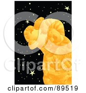 Royalty Free RF Clipart Illustration Of A Golden Aries Ram In A Starry Sky