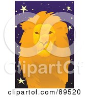 Royalty Free RF Clipart Illustration Of A Golden Leo Lion In A Starry Sky by mayawizard101