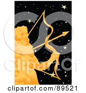 Royalty Free RF Clipart Illustration Of A Golden Sagittarius Archer In A Starry Sky by mayawizard101