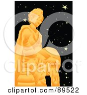 Royalty Free RF Clipart Illustration Of A Golden Aquarius Water Pourer In A Starry Sky by mayawizard101