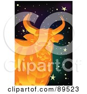 Royalty Free RF Clipart Illustration Of A Golden Bull In A Starry Sky