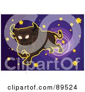 Royalty Free RF Clipart Illustration Of A Leaping Taurus Bull With Stas In A Purple Sky
