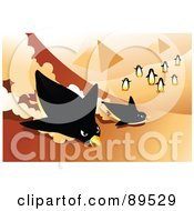 Royalty Free RF Clipart Illustration Of Penguins Racing Down The Side Of The Egyptian Pyramids