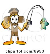 Clipart Picture Of A Wooden Cross Mascot Cartoon Character Holding A Fish On A Fishing Pole