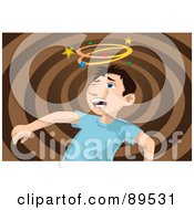 Royalty Free RF Clipart Illustration Of A Boy Seeing Stars After Being Punched In The Face by mayawizard101