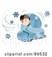 Royalty Free RF Clipart Illustration Of A Sick Man Shivering In A Blanket Surrounded By Snowflakes by mayawizard101