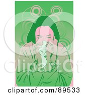 Royalty Free RF Clipart Illustration Of A Sick Woman Blowing Her Nose Into A Tissue by mayawizard101