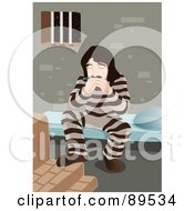 Royalty Free RF Clipart Illustration Of A Prisoner Playing A Harmonica And Tapping His Foot On A Step by mayawizard101