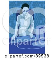 Royalty Free RF Clipart Illustration Of A Female Receptionist Wearing A Headset And Using A Desktop PC by mayawizard101