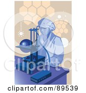 Royalty Free RF Clipart Illustration Of A Female Scientist By A Microscope by mayawizard101