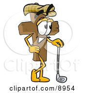 Clipart Picture Of A Wooden Cross Mascot Cartoon Character Leaning On A Golf Club While Golfing