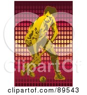 Royalty Free RF Clipart Illustration Of A Yellow Male Field Hockey Player Over Pink Mesh
