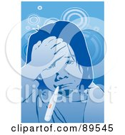 Royalty Free RF Clipart Illustration Of A Sick Girl Touching Her Forehead And Taking Her Temperature by mayawizard101