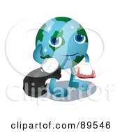 Royalty Free RF Clipart Illustration Of A Sweaty Globe Carrying Garbage by mayawizard101