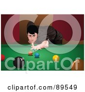 Man Playing Snooker Leaning Low And Aiming