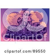 Royalty Free RF Clipart Illustration Of A Go Kart Racer Driving by mayawizard101 #COLLC89550-0158