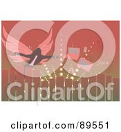Royalty Free RF Clipart Illustration Of A Winged Person Reaching For A Laptop And Tv