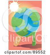 Royalty Free RF Clipart Illustration Of The Sun Shining Down On A Melting Globe Popsicle by mayawizard101