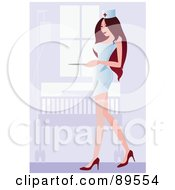 Royalty Free RF Clipart Illustration Of A Sexy Brunette Nurse In Heels And A White Dress