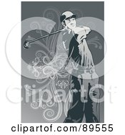 Royalty Free RF Clipart Illustration Of A Man Watching His Golf Ball After A Strong Swing
