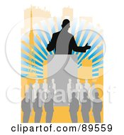 Royalty Free RF Clipart Illustration Of A Silhouetted Businessman Speaking To A Crowd