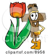 Wooden Cross Mascot Cartoon Character With A Red Tulip Flower In The Spring