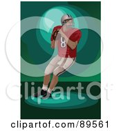 Royalty Free RF Clipart Illustration Of An American Football Player About To Throw A Ball