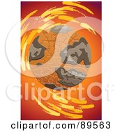 Royalty Free RF Clipart Illustration Of A Dry Cracking Globe Over Red And Orange by mayawizard101