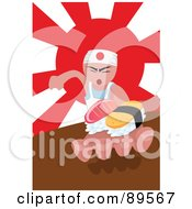 Royalty Free RF Clipart Illustration Of An Asian Sushi Chef Holding Food In His Hand by mayawizard101
