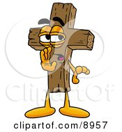 Clipart Picture Of A Wooden Cross Mascot Cartoon Character Whispering And Gossiping