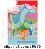 Royalty Free RF Clipart Illustration Of The Sun Shining Down On A Melting Globe Ice Cream Cone by mayawizard101