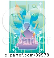 Royalty Free RF Clipart Illustration Of A Purple Male Silhouette Sitting On The Floor With A Laptop Over Arrows And Computer Icons by mayawizard101