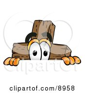 Clipart Picture Of A Wooden Cross Mascot Cartoon Character Peeking Over A Surface