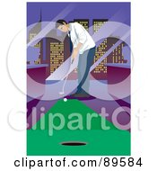 Royalty Free RF Clipart Illustration Of A Businessman Golfing In His City Office by mayawizard101