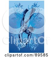 Royalty Free RF Clipart Illustration Of A Male Swimmer Diving Down In Water