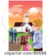 Royalty Free RF Clipart Illustration Of A Father And Daughter Walking To Church At Dawn by mayawizard101