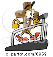 Clipart Picture Of A Wooden Cross Mascot Cartoon Character Walking On A Treadmill In A Fitness Gym
