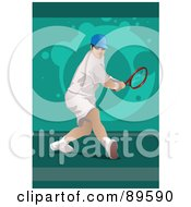 Royalty Free RF Clipart Illustration Of A Male Tennis Player Twisting His Body To Hit A Ball by mayawizard101