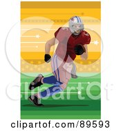 Royalty Free RF Clipart Illustration Of An American Football Player Running On A Field