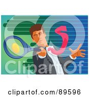 Royalty Free RF Clipart Illustration Of A Businessman Swinging A Dollar Tennis Racket
