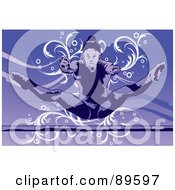 Royalty Free RF Clipart Illustration Of A Female Gymnast Leaping Towards A Bar Over Purple by mayawizard101