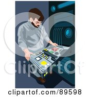 Royalty Free RF Clipart Illustration Of A Man Working On A Server Computer Rack by mayawizard101