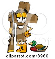 Clipart Picture Of A Wooden Cross Mascot Cartoon Character Duck Hunting Standing With A Rifle And Duck by Toons4Biz