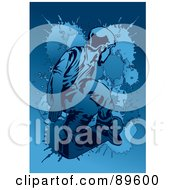 Royalty Free RF Clipart Illustration Of A Blue Male Snowboarder