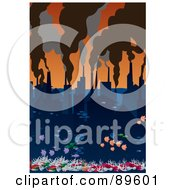 Royalty Free RF Clipart Illustration Of A City Of Water With Smoke Rising From Factory Chimneys by mayawizard101