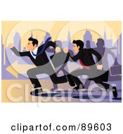 Royalty Free RF Clipart Illustration Of Competitive Corporate Businessmen In A Race For A Job Opportunity by mayawizard101