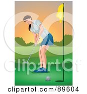 Royalty Free RF Clipart Illustration Of A Woman Watching Her Golf Ball Go Into A Hole by mayawizard101