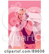 Happy Pink Woman Smiling With Shopping Bags