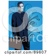 Royalty Free RF Clipart Illustration Of A Businessman In A Blue Suit Over Blue With Vines